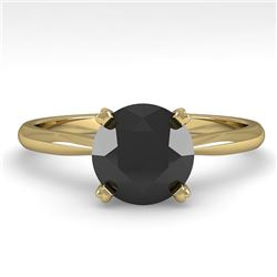 1.50 CTW Black Diamond Engagement Designer Ring 14K Yellow Gold - REF-51H3W - 38471