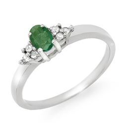 0.37 CTW Emerald & Diamond Ring 18K White Gold - REF-38H2W - 12364