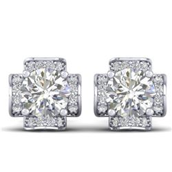 1.85 CTW Certified VS/SI Diamond Art Deco Stud Earrings 14K White Gold - REF-210W2H - 30276