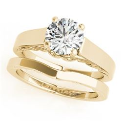 1 CTW Certified VS/SI Diamond Solitaire 2Pc Wedding Set 14K Yellow Gold - REF-362F8M - 31861