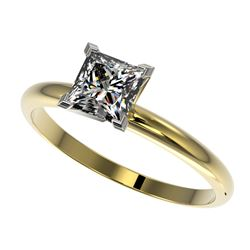 1 CTW Certified VS/SI Quality Princess Diamond Engagement Ring 10K Yellow Gold - REF-297K2R - 32899