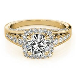 1.5 CTW Certified VS/SI Diamond Solitaire Halo Ring 18K Yellow Gold - REF-249H6W - 26942
