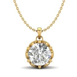 1.36 CTW VS/SI Diamond Solitaire Art Deco Necklace 18K Yellow Gold - REF-361R8K - 37246