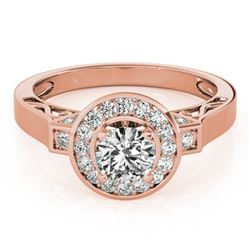 1.5 CTW Certified VS/SI Diamond Solitaire Halo Ring 18K Rose Gold - REF-394F5M - 27085