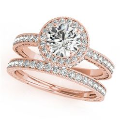 1.78 CTW Certified VS/SI Diamond 2Pc Wedding Set Solitaire Halo 14K Rose Gold - REF-411W3H - 31254