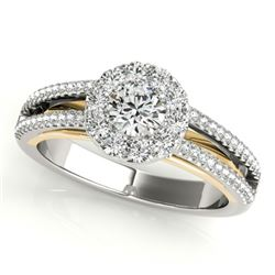 0.75 CTW Certified VS/SI Diamond Solitaire Halo Ring 18K White & Yellow Gold - REF-130F5M - 26633