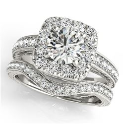 1.55 CTW Certified VS/SI Diamond 2Pc Wedding Set Solitaire Halo 14K White Gold - REF-234M8F - 30978