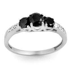 1.05 CTW Vs Certified Black & White Diamond Ring 14K White Gold - REF-43K6R - 11791