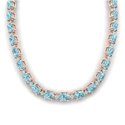 61.85 CTW Sky Blue Topaz & VS/SI Certified Diamond Necklace 10K Rose Gold - REF-264X9T - 29523