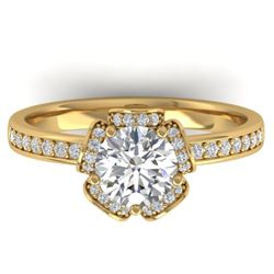 1.75 CTW Certified VS/SI Diamond Art Deco Ring 14K Yellow Gold - REF-390K4R - 30275