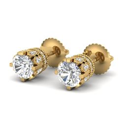 3 CTW VS/SI Diamond Solitaire Art Deco Stud Earrings 18K Yellow Gold - REF-619F6M - 36838