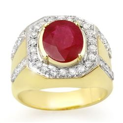 4.75 CTW Ruby & Diamond Mens Ring 10K Yellow Gold - REF-118H2W - 14501