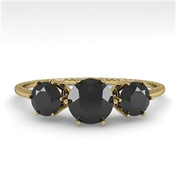 1 CTW Past Present Future Black Certified Diamond Ring 18K Yellow Gold - REF-71F3M - 35908