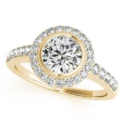 1.5 CTW Certified VS/SI Diamond Solitaire Halo Ring 18K Yellow Gold - REF-401Y6N - 27023