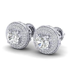 2.35 CTW VS/SI Diamond Solitaire Art Deco Stud Earrings 18K White Gold - REF-400R2K - 37256