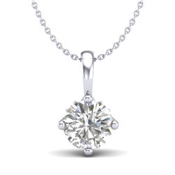 0.82 CTW VS/SI Diamond Solitaire Art Deco Stud Necklace 18K White Gold - REF-180X2T - 37025