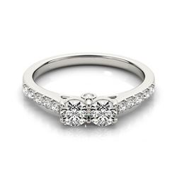 1.5 CTW Certified VS/SI Diamond 2 Stone 2 Stone Ring 18K White Gold - REF-215X6T - 28218