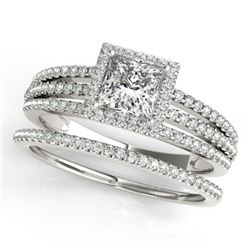 1.05 CTW Certified VS/SI Princess Diamond 2Pc Set Solitaire Halo 14K White Gold - REF-161W3H - 31382