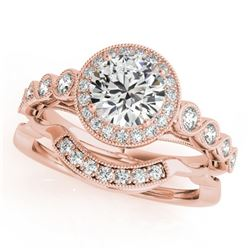 1.6 CTW Certified VS/SI Diamond 2Pc Wedding Set Solitaire Halo 14K Rose Gold - REF-402R4K - 30850