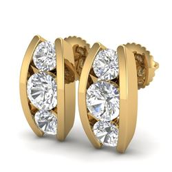 2.18 CTW VS/SI Diamond Solitaire Art Deco Stud Earrings 18K Yellow Gold - REF-300N2Y - 37012