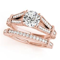 0.91 CTW Certified VS/SI Diamond Solitaire 2Pc Wedding Set Antique 14K Rose Gold - REF-148R5K - 3146