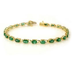 5.0 CTW Emerald Bracelet 10K Yellow Gold - REF-43X3T - 13454