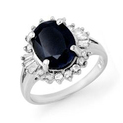 5.47 CTW Blue Sapphire & Diamond Ring 18K White Gold - REF-90R9K - 13297
