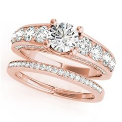3.25 CTW Certified VS/SI Diamond 2Pc Set Solitaire Wedding 14K Rose Gold - REF-640Y5N - 32100