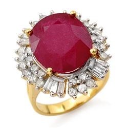 10.65 CTW Ruby & Diamond Ring 14K Yellow Gold - REF-246M4F - 13195