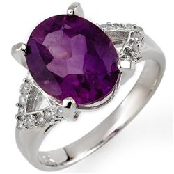 4.20 CTW Amethyst & Diamond Ring 10K White Gold - REF-32F8M - 10615