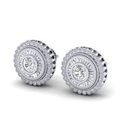 2.61 CTW VS/SI Diamond Solitaire Art Deco Stud Earrings 18K White Gold - REF-381H8W - 37082