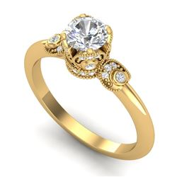 1 CTW VS/SI Diamond Solitaire Art Deco Ring 18K Yellow Gold - REF-157T5X - 36853