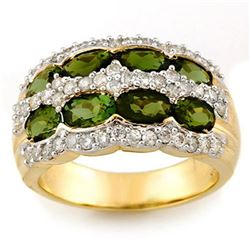 3.0 CTW Green Tourmaline & Diamond Ring 14K Yellow Gold - REF-105R5K - 11685