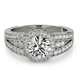 1.5 CTW Certified VS/SI Diamond Solitaire Halo Ring 18K White Gold - REF-398H9W - 26793