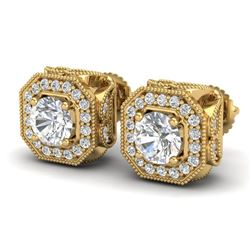 2.75 CTW VS/SI Diamond Solitaire Art Deco Stud Earrings 18K Yellow Gold - REF-472F8M - 37324