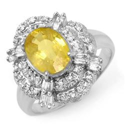 3.05 CTW Yellow Sapphire & Diamond Ring 18K White Gold - REF-100Y2N - 14343