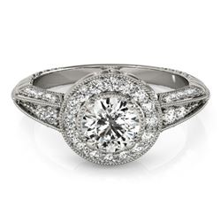 1 CTW Certified VS/SI Diamond Solitaire Halo Ring 18K White Gold - REF-147R3K - 26982