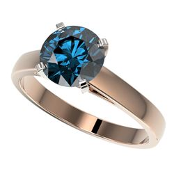 2 CTW Certified Intense Blue SI Diamond Solitaire Engagement Ring 10K Rose Gold - REF-417T6X - 33036
