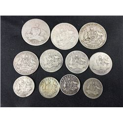 Nice Group of Old Australian Silver Coins - Including 1916 Shillings