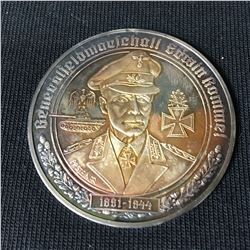 Rare Silver German Medallion General Field Marshal Erwin Rommel  - Christian Zentner Collection