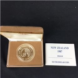 1987 New Zealand Silver Proof Five Dollars - Natinal Parks Centennial - Commemorative Coin With Case