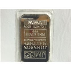 1ozt .999 Fine Silver Johnson Mathey Pure Silver Bar