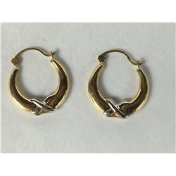 Pair of 14ct Yellow & White Gold Earrings