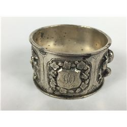 Antique Chinese Export Silver Heavy Relief Napkin Ring by Luen Wo