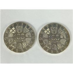 Two 1977 Austrian 100 Schilling Silver Coins - 1200th Anniversary - Kremsmunster Monastery - 36mm Di