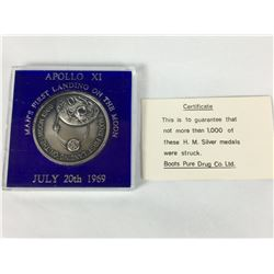 1969 Sterling Silver Moon Landing Medallion