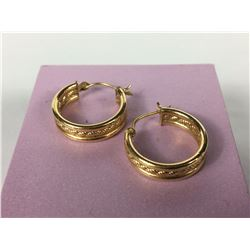 Pair of 14ct Yellow Gold Earrings - Diameter 17mm