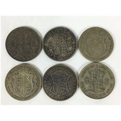 Six English Silver Half Crown Coins