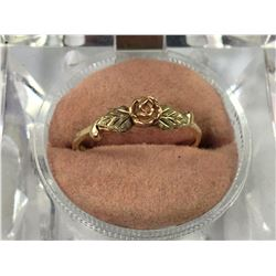 10ct Gold Ring with Gold Rose with Leaves - Size 6 1/2 - 17mm ID