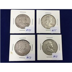 Group of Four Franklin Silver Half Dollar Coins - 1960, 1961, 1962, 1963